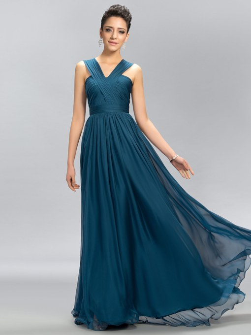 V-Neck Straps Floor-Length A-Line Evening/Bridesmaid Dress