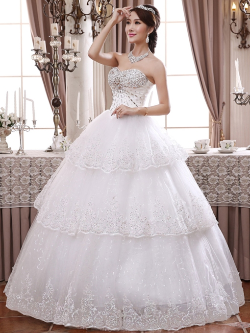 Sleeveless Ball Gown Floor-Length Appliques Hall Wedding Dress 2021