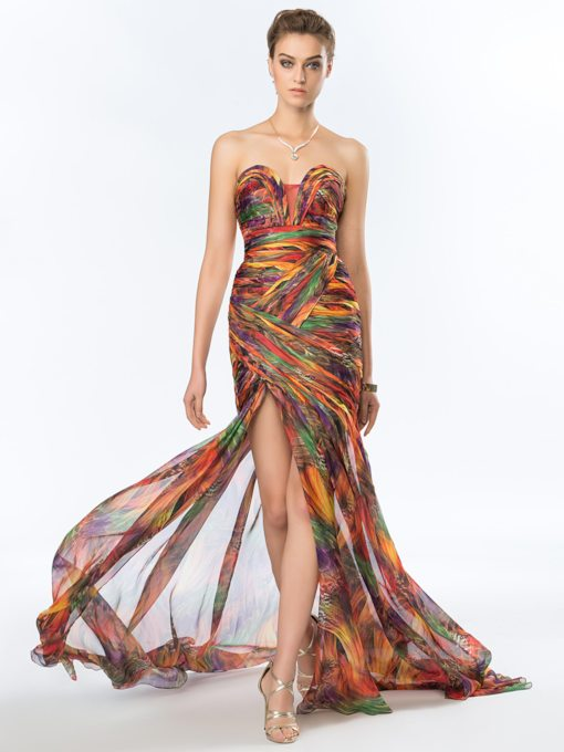 Sweetheart Split-Front Trumpet Printed Evening Dress
