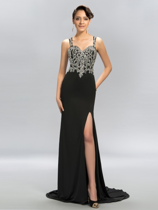 Mermaid Straps Tulle Rhinestone Evening Dress