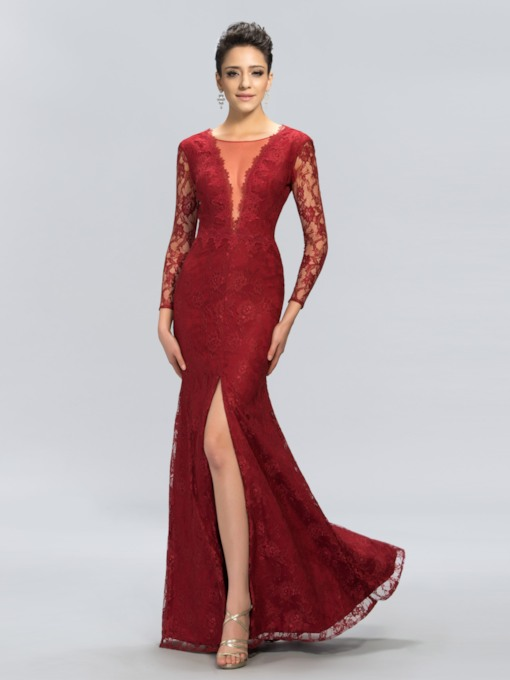 V-Neck Lace Mermaid Split Front Evening Dress