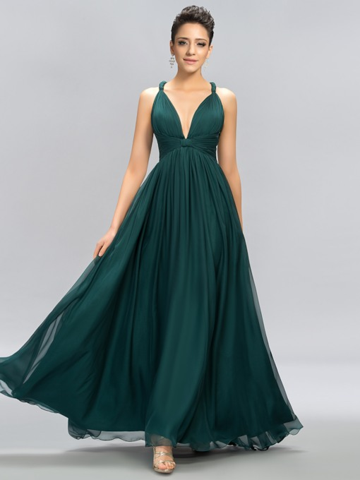 V-Neck Straps A-Line Floor-Length Evening Dress