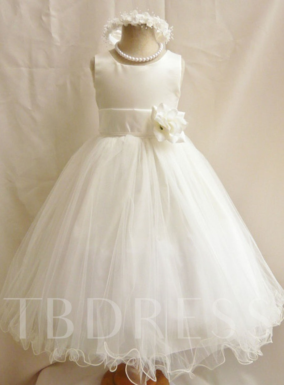 Image of Ankle-Length A-Line Flower Ruffles Flower Girl Dress