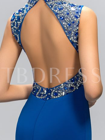 Shining Mermaid High-Neck Rhinestone Evening Dress