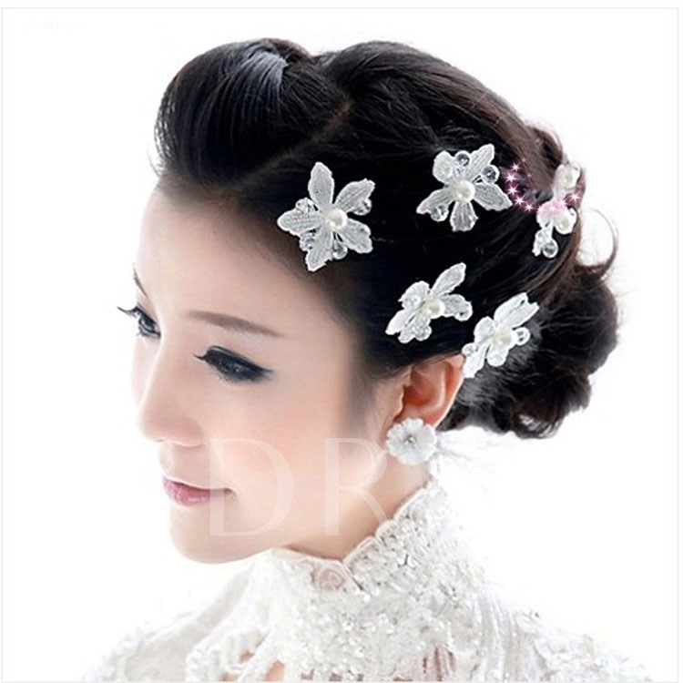 White Flower Pearls Wedding Head Flower