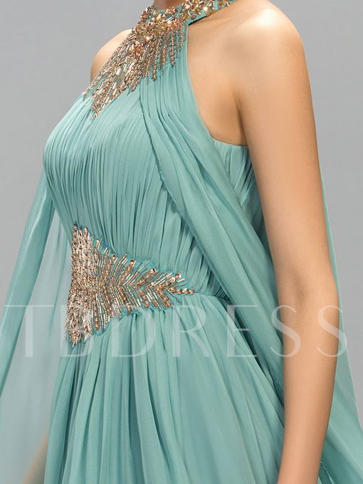 Beaded Halter Neck Ruffles Long Evening Dress