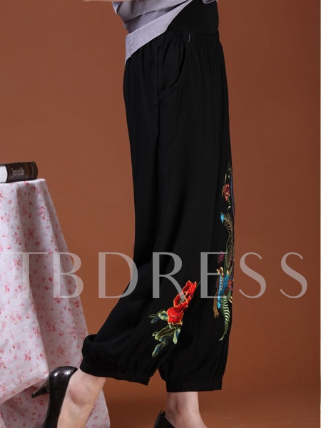 Embroidery Mid-waist Women's Pants