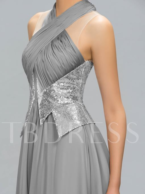 Ruched Sequins A-Line Floor-Length Evening Dress
