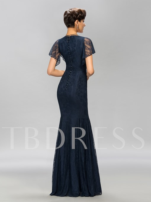 Lace Scoop Neck Mermaid Long Evening Dress
