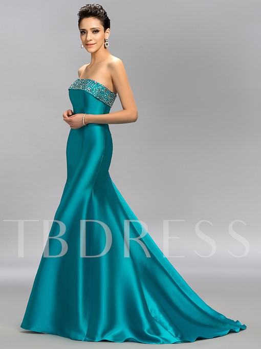 Strapless Trumpet Beading Long Evening Dress