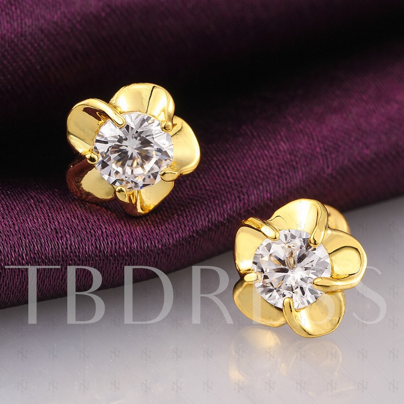 Flower-Shaped with Imitation Crystal Pierced Earrings