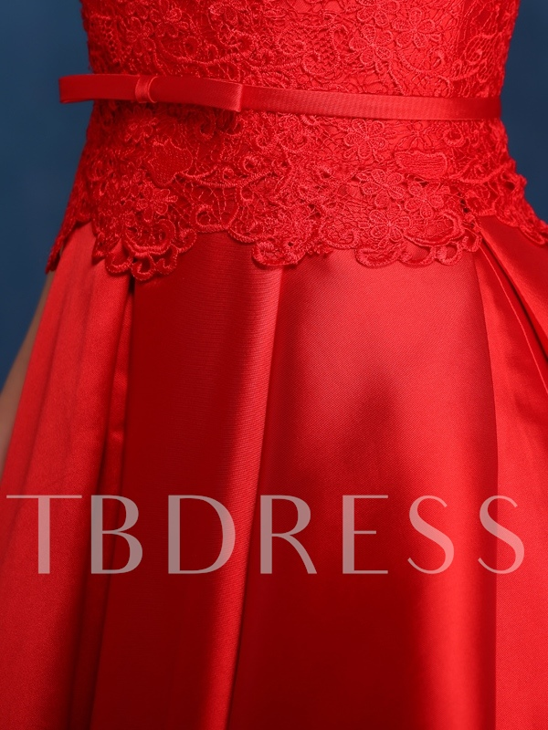 Tbdress A-Line Scoop Neck Lace Knee-Length Prom Dress