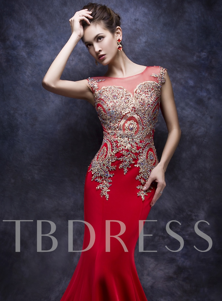 Mermaid Appliques Bateau Rhinestone Evening Dress