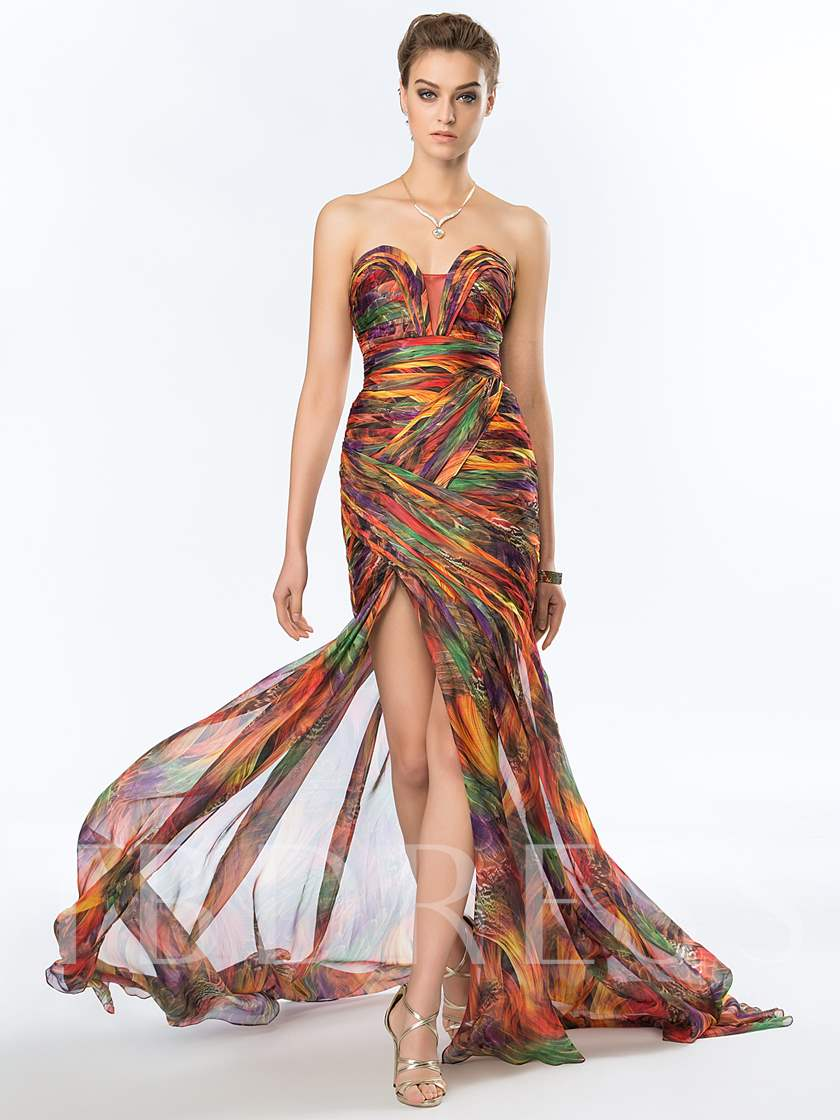 Sweetheart Split-Front Pleats Printed Evening Dress
