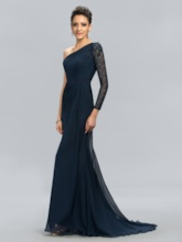 One Shoulder Lace Long Sleeve Evening Dress