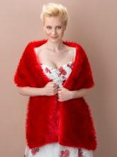 Red Warm Faux Fur Wedding/Evening Shawl