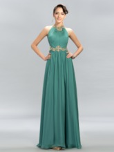 Ruched Jewel Beading A-Line Evening Gowns