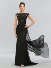 Cap Sleeves Beading Sheath Lace Evening Dress with Train