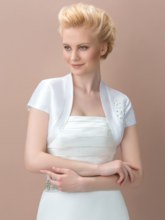 White Matte Satin Short Wedding Jacket