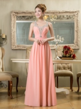 A-Line Beading Straps Long Bridesmaid Dress