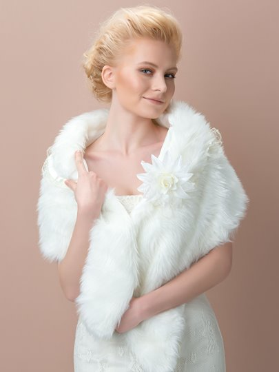 Faux Fur Wedding Shawl with Flower Embellishment