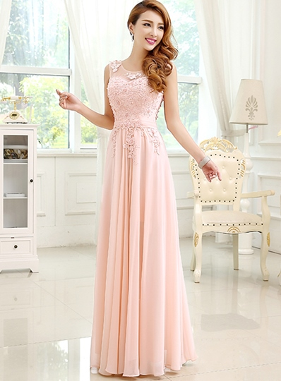 A-Line Pearls Round Neck Appliques Floor-Length Evening Dress