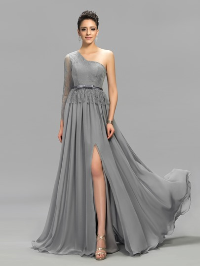 One-Shoulder Long Sleeves Lace Evening Dress