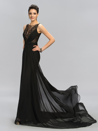 Appliques Sheath Sweep Train Evening Dress