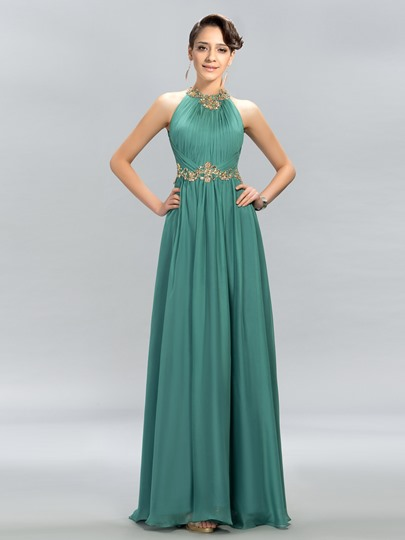 Ruched Jewel Beading A-Line Evening Dress