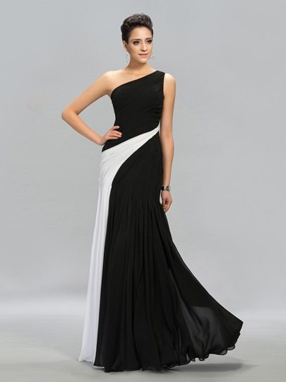 Ruched Contrast Color One-Shoulder A-line Floor-Length Evening Dress