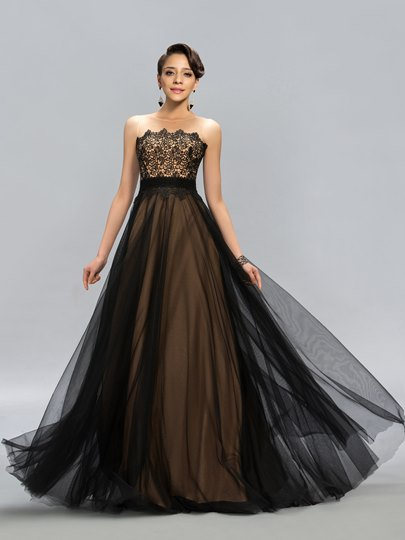 Lace Scoop A-Line Floor-Length Evening Dress