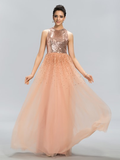 A-Line Jewel Sequins Beadings Evening Dress