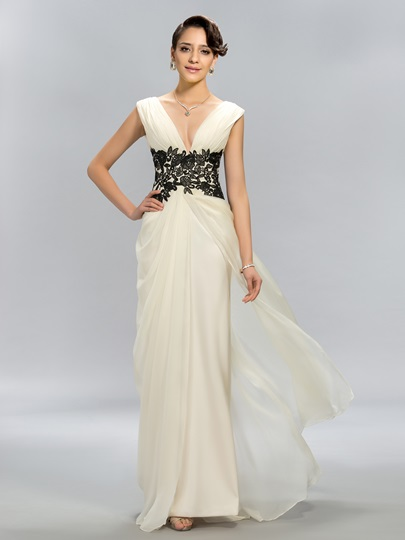 A-Line V-Neck Appliques Evening Dress