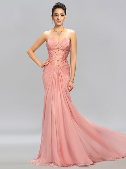 graceul strapless trumpet beading pleats evening dress