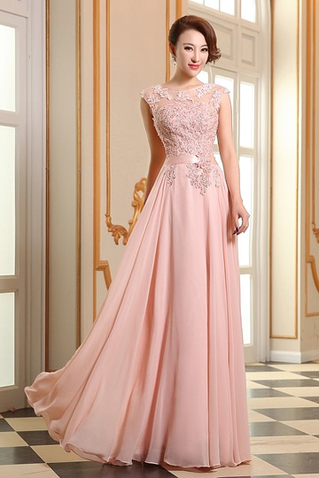 Beading Applique Lace-Up A-Line Floor Length Evening Dress