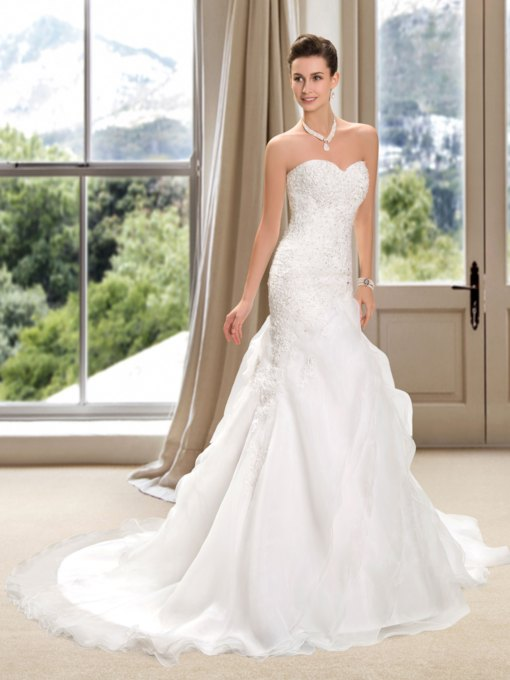 Sweetheart Appliques Beading Mermaid Wedding Dress