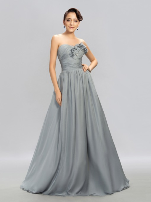 Sweetheart Empire Pleats Rhinestone Evening Dress