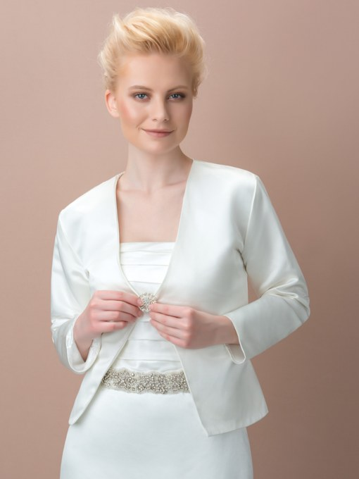 Long Sleeve Matte Satin Wedding Jacket