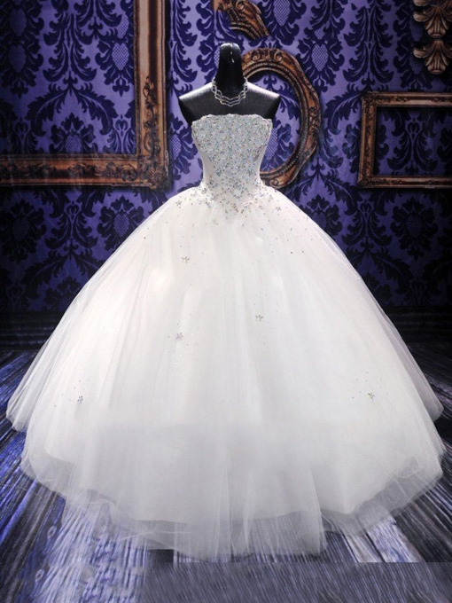Beading Ball Gown Strapless Floor-Length Church Wedding Dress 2021