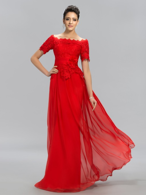 Off-the-Shoulder Lace Floor-Length Evening Dress
