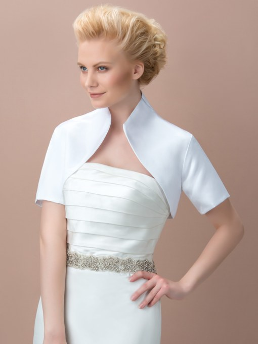 Short Sleeve Matte Satin Wedding Jacket