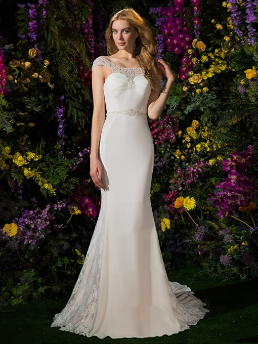 Scoop Trumpet Mermaid Floor-Length Chapel Hall Wedding Dress 2021