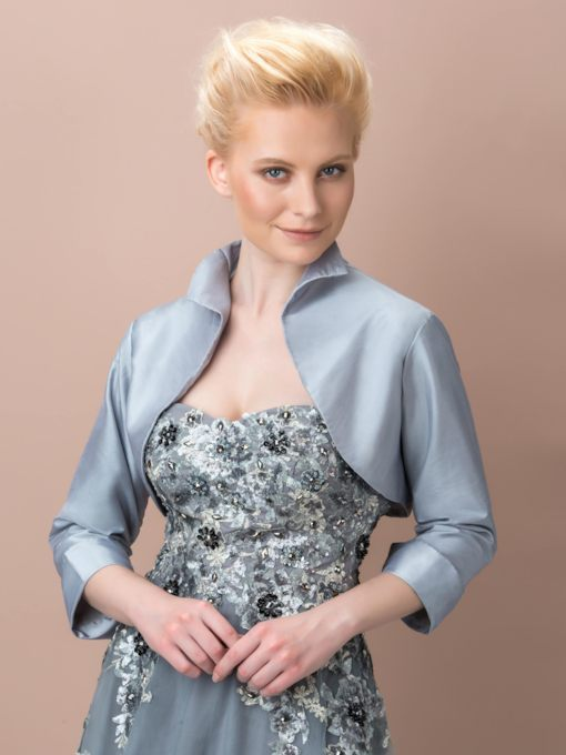 Taffeta 3/4 Length Sleeve Evening Jacket