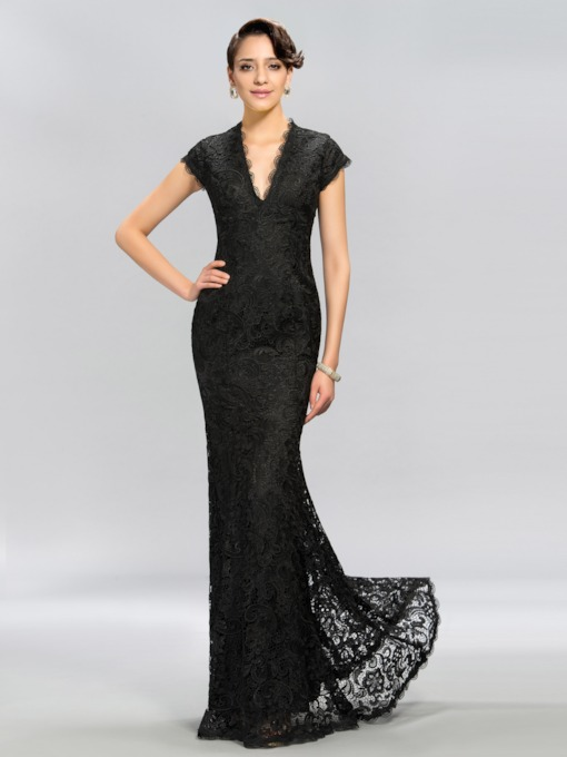 Sheathh V-Neck Cap Sleeves Lace Evening Dress