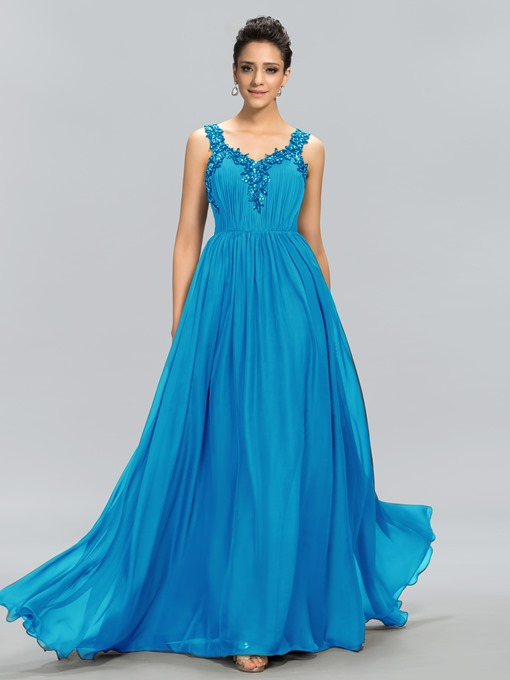 V-Neck Beading Applique A-Line Evening Dress
