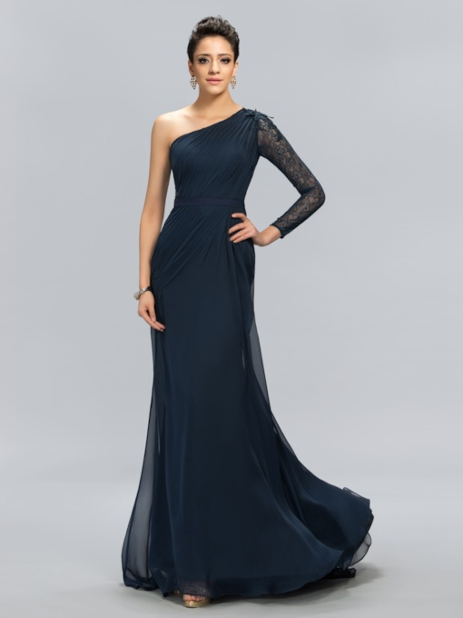 One-Shoulder Lace Mermaid Floor Length Evening Dress