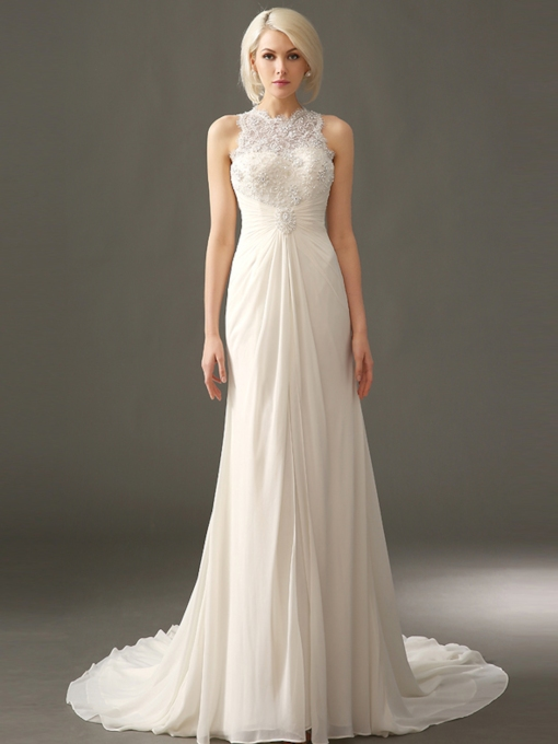 Appliques Sleeveless Jewel Sheath Column Garden Outdoor Wedding Dress 2021
