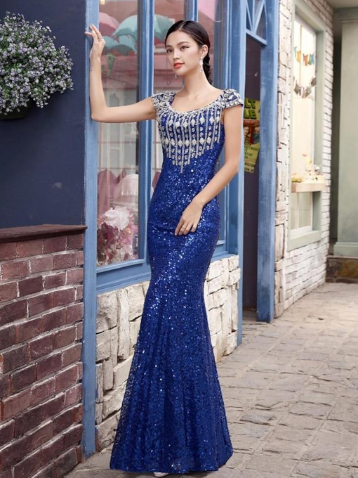 Glaring Scoop Sequins Rhinestone Evening Dress