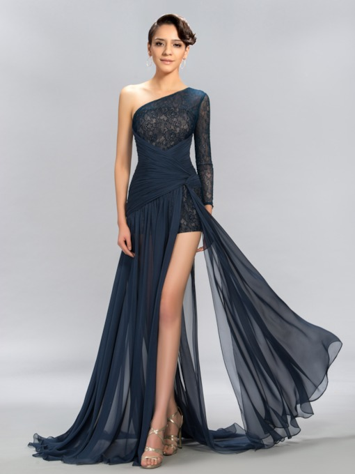 One Shoulder Split-Front Long Sleeve Lace Evening Dress