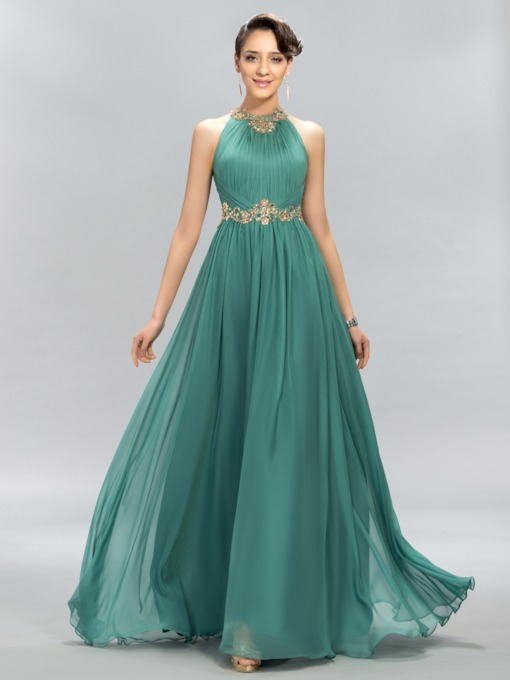 Jewel Neck Pleats Appliques Beading Evening Dress
